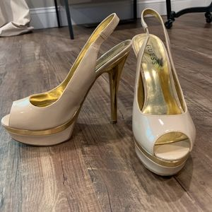 Guess Nude and Gold Peep Toe Slingback Heels